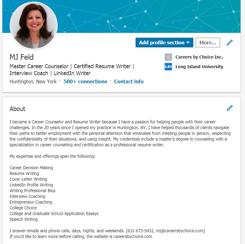 MJ writes comprehensive and engaging LinkedIn Profiles
